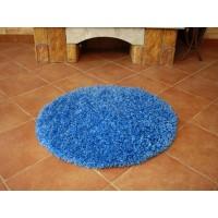 dywan shaggy niebieski 200x200cm koło