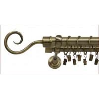 Karnisz podwójny 25/19 240cm zakończenie Hook uchwyt klasyczny